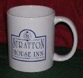 Coffee cup with Stratton House Inn design.