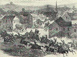 Depiction of Morgan's Raiders in an Ohio town