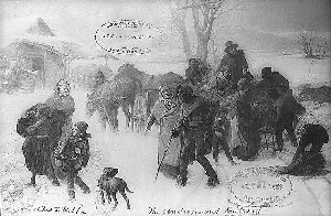 Charles T. Webber's depiction of underground railroad in winter, courtesy of the Library of Congress